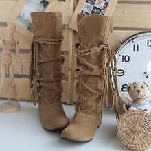 Load image into Gallery viewer, Velvet Tassel Flats Knee High Boots Women Shoes 3482