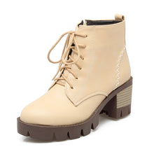 Load image into Gallery viewer, Lace Up Women Ankle Boots Zipper Platform High Heels Shoes Woman 7582