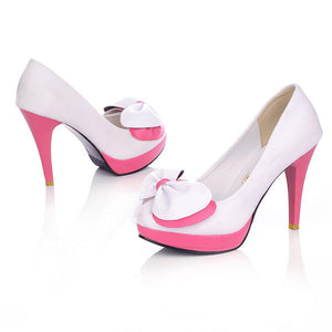 Women High Heels Spike Shoes Bow Platform Pumps 3162