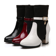 Load image into Gallery viewer, Patchwork Ankle Boots Buckle Platform Boots High Heels Shoes Woman
