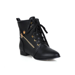 Lace Up Pointed Toe Ankle Boots Women Shoes Fall|Winter 8017