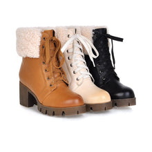 Load image into Gallery viewer, Fur Snow Boots High Heels Women Shoes Winter 1601