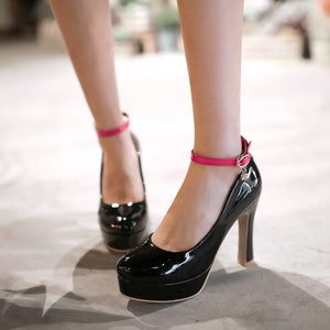 Ankle Straps Patent Leather Chunky Heel Pumps Platform High Heels Fashion Women Shoes 1309
