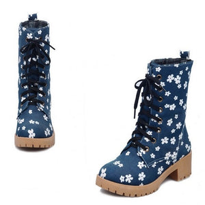Floral Printed High Heels Boots Lace Up Shoes Woman 3279 3279