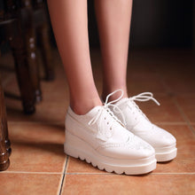 Load image into Gallery viewer, Lace Up Carve Wedges Pumps Platform High Heels Women Shoes 9921