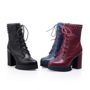 Studded Ankle Boots Lace Up Platform High Heels Shoes Woman