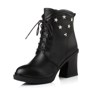 Studded Ankle Boots Platform Black High Heels Shoes Woman