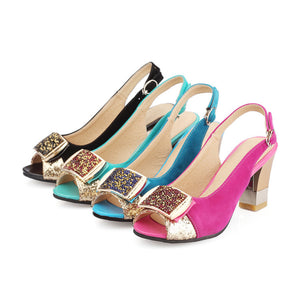 Sequined High Heels Slingbacks Sandals Chunky Heel Pumps 8073