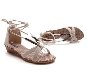 Bead Beach Sandals Wedges Straps Summer Shoes Woman