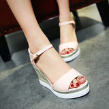 Summer Wedges Sandals Ankle Straps Platform Shoes Woman