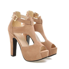 Load image into Gallery viewer, Peep Toe Buckle T Straps Platform Sandals High Heels 8192