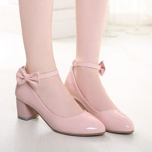 Women Pumps Ankle Straps Medium Heel Bowtie Patent Leather Shoes Woman 3535