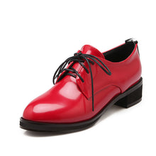 Load image into Gallery viewer, Round Toe Patent Leather Lace Up Wommen Pumps Low Square Heels Shoes 5625