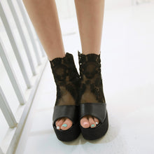 Load image into Gallery viewer, Fashion Peep Toes Lace Wedges Sandals Pumps Platform High Heels Women Dress Shoes 6547