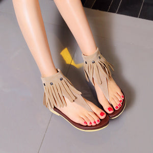 Summer Tassel Flip Flop Sandals Flat Shoes Woman