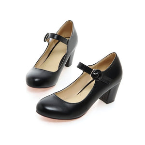Buckle Ankle Strap High Heels Chunky Pumps Women Shoes 8699
