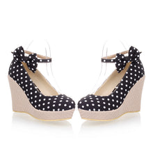 Load image into Gallery viewer, Women Wedges Polka Dot Ankle Straps Platform Shoes 3427