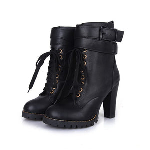 Lace Up Ankle Boots Platform High Chunky Heels Women Shoes 9583