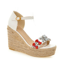 Load image into Gallery viewer, Women Woven Wedges with Rhinestone Ankle Straps Platform Shoes