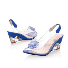 Load image into Gallery viewer, Bohemia Style Flower Rhinestone Peep Toe Wedge Sandals 6399