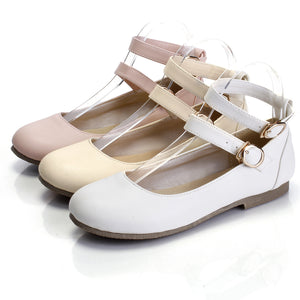 Women Flats Double Buckles Ballet Shoes  3684