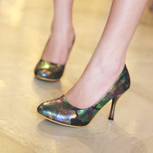 Sexy Printed Pumps Platform High Heels Fashion Women Shoes 2938