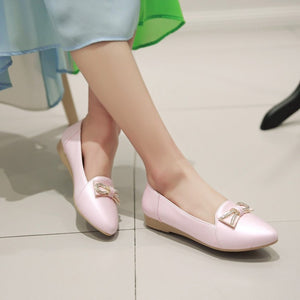 Women Flats Rhinestone Bowtie Ballet Shoes Woman Loafers 3534