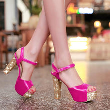 Load image into Gallery viewer, Glitter Platform Sandals Ankle Straps Women Pumps High Heels Shoes Woman