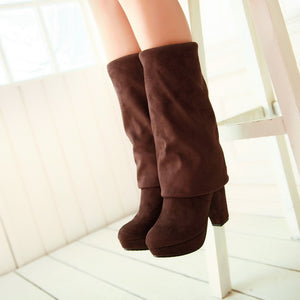 Women Over the Knee Boots Platform Artificial Suede Elastic High Heels Shoes Woman 2016 3390