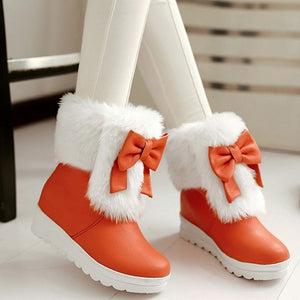 Rabbit Fur Snow Boots with Bow Winter Women Shoes