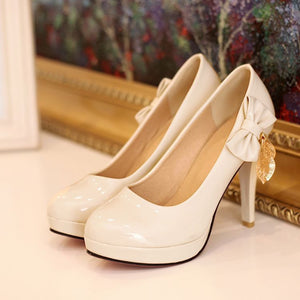 Patent Leather Women Pumps Platform Bowtie Tassel High Heels Spike Shoes Woman