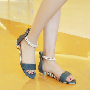 Pearl Sandals Ankle Straps Plus Size Shoes Woman