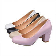 Load image into Gallery viewer, Women High Heels Dress Shoes Chunky Heel Pumps 6516