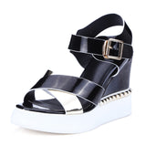 Color Blocking Wedges Sandals Women Platform High-heeled Shoes Woman