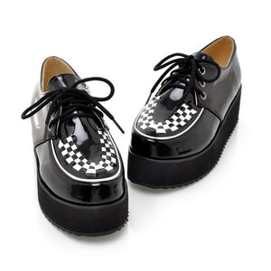 Patent Leather Lace Up Women Wedges Foam Sole Platform Shoes