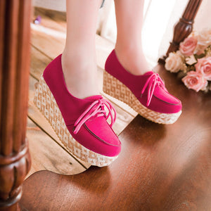 Women Wedges Lace Up Platform Shoes High Heels  6167