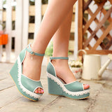 Ankle Straps Platform Sandals Women Peep Toes Wedges Shoes Woman
