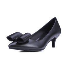 Load image into Gallery viewer, Women's Pumps Bow Genuine Leather High Heels Dress Shoes