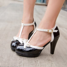 Load image into Gallery viewer, T Straps Women Pumps Bow High Heels Dress Shoes