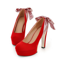 Load image into Gallery viewer, Women Platform Pumps Bowtie High Heels Dress Shoes Woman 3526