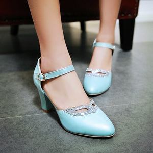 Ladies Ankle Straps High Heels Rhinestone Sexy Pumps Work Shoes Woman