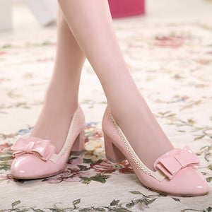 Patent Leather Bow Pumps Platform High Heels Women Shoes 6676
