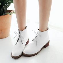 Load image into Gallery viewer, Lace Up PU Leather Ankle Boots Square Heel Shoes Woman 3317 3317