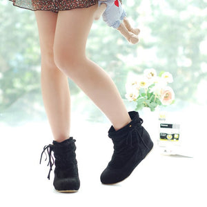 Tassel Flats Ankle Boots Velvet Women Shoes 6031