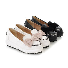 Load image into Gallery viewer, Bowtie Women Wedges Round Toe Loafers Platform Shoes 3404