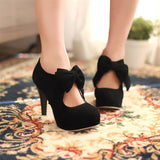 Bowtie Women Pumps Platform High Heels Black and Tan Back Zipper Spike Shoes Woman