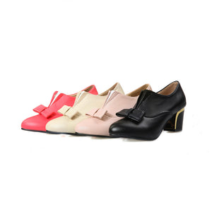 Bowtie Women Pumps PU Leather Pointed Toe High Heels Shoes Woman