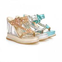 Load image into Gallery viewer, Platform Sandals Slides Rhinestone Wedges Women Pumps High Heels Shoes Woman 3600