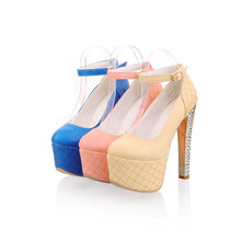 Load image into Gallery viewer, Ankle Straps Studded Women Pumps Platform Dress Shoes High Heels  2797