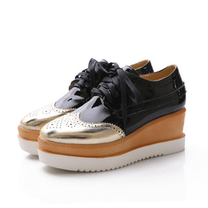 Patent Leather Lace Up Oxfords Platform Wedge Shoes 4050